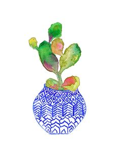 Aquarelle de cactus. Vase Indigo. Archiv. Planteur de bleu. Pot de fleur.