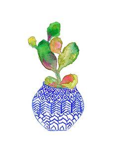 Cactus Watercolor.  Indigo Vase.  Archival Print.  Blue Planter.  Flower Pot.
