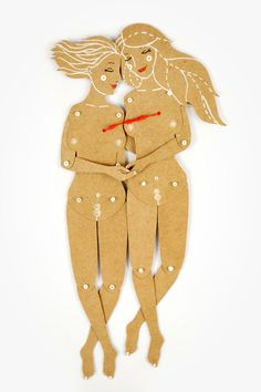 Valentines Day SALE Girls couple  Articulated Paper by dubrovskaya, $14.25