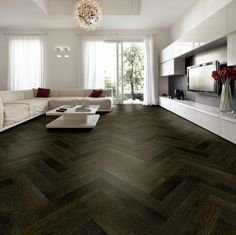 Tuscan Oak Smoked & Black Stained Engineered Parquet Wood Flooring Source by margadess. Engineered Wood Floors, Timber Flooring, Parquet Flooring, Hardwood Floor Colors, Hardwood Floors, Black Wood Floors, Parquetry Floor, Herringbone Wood Floor, Wood Parquet