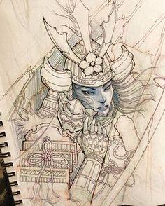 "4,765 lượt thích, 30 bình luận - David Hoang (@davidhoangtattoo) trên Instagram: ""Samurai sketch. #chronicink #asiantattoo #asianink #irezumi #tattoo #illustration #art #sketch…"""