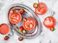 Strawberry Cocktails, Punch Bowls, Strawberries