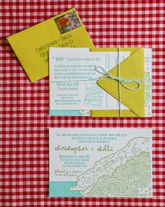 Blue-and-white baker's twine bound together the pieces of this cheery destination wedding invitation suite