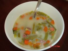 My Green Bean Soup - Mennonite Style  pounds smoked ham - with bone is fine ( smoked farmer sausage can be substituted for . Amish Recipes, My Recipes, Soup Recipes, Cooking Recipes, Recipies, Cooking Stuff, German Recipes, Free Recipes, Favorite Recipes