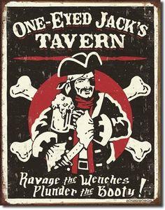 Nautical Bar Sign One Eyed Jacks Tavern Pirate Tin Beer