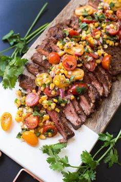 Jan 2019 - Chili Rubbed Steak with Corn Tomato Salsa - a zesty dry-rub and marinade gives this steak oodles of flavor. Top it with this roasted corn and tomato salsa and you have yourself a delicious and colorful meal! Steak Sides, Steak Dinner Sides, Steak Side Dishes, Beef Dishes, Fancy Dinner Recipes, Fancy Meals, Dinner Menu, Healthy Summer Recipes, Healthy Dinners