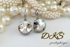 Crystal Silver Shade, Swarovski Earrings, Lever Backs, High Sparkle, Neutral, 12MM, Bridal, Round, Drops, DKSJewelrydesigns, FREE SHIPPING