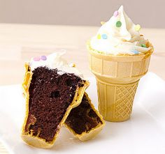 Bake cupcakes directly in ice-cream cones, so much more fun and easier for kids to eat.  My mom made these for one of my birthdays when I was a kid. I made them for my kids, too.