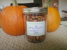 Salty, Spicy, Sweet Pumpkin Seeds:  Ingredients: 2 cups Pumpkin seeds  olive oil, 1/4 cup sugar plus 1 tablespoon, cinnamon, about 1 tsp  pumpkin pie spice,  about 1/2 tsp  cayenne pepper just a little, about 1/8 of a tsp (optional), salt.