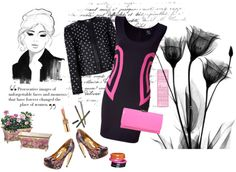 """""""Black and Hot Pink"""" by youaresofashion ❤ liked on Polyvore"""