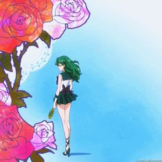 Like the ceaseless roaring of the sea, the clamor in my chest Became a wind indicating of spring and overtook us Sailor Moon Crystal, Sailor Moon Fan Art, Wallpapers Sailor Moon, Female Characters, Disney Characters, Fictional Characters, Sailor Neptune, Force Of Evil, Anime