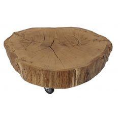 boomstam tafeltje Willen 189 euro eiken 15 cm dikke plak op drie wieltjes, nog in olie of lak zetten, 65-77 cm doorsnede. Ook leuk van eigen esdoorn :-)