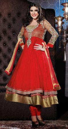 $122.8 Red Faux Georgette Zardosi Work Anarkali Salwar Kameez 26510