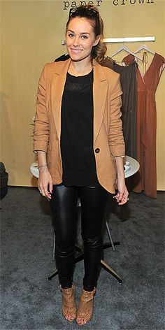 Who made  Lauren Conrad's nude blazer, black pants, shoes and shirt that she wore on February 20, 2011?
