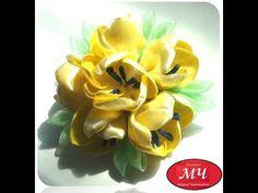 МК Акварельные цветы из атласной ленты. DIY Ribbon flowers - YouTube