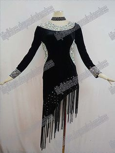 LATIN RHYTHM SALSA BALLROOM DANCE DRESS COMPETITION BLACK VELVET