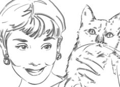Audrey Hepburn Gift for Pet owner Cat lover by microuniverse