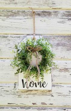 Dollar Tree Decor, Dollar Tree Crafts, Decor Crafts, Home Crafts, Wood Tags, Greenery Wreath, Wood Wreath, Wooden Crafts, Rustic Wood Crafts