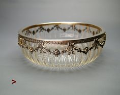 1903 Antique European Empire solid Sterling Silver Cut Crystal Glass Bowl / 675 Silver Garland, Bowl, Silver Diamonds, Necklace Lengths, Antique Silver, Cuff Bracelets, Jewelery, Empire, Sterling Silver