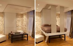 If only I were rich I could have this bed that lowers from the ceiling for house guests!