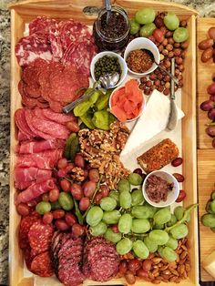 Charcuterie board with a mixture of italian and Russian cured meats