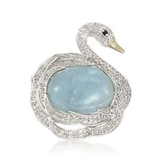 Milky Aquamarine and .15 ct. t.w. Diamond Swan Ring In Sterling Silver