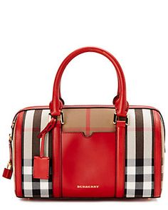 Burberry Alchester Medium House Check & Leather Bowler