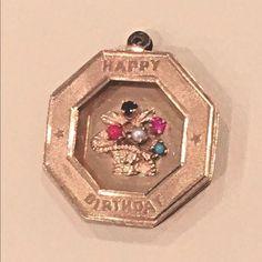 Vintage 14k Gold Happy Birthday Charm Pendant