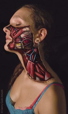 Facial Dissection- Photograph of SKIN SAFE body paint by artist Danny Quirk. (This is NOT, I repeat NOT the acrylic paint you buy for painting on paper or canvas.)
