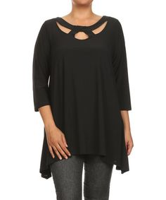 Another great find on #zulily! Black Cutout Three-Quarter Sleeve Tunic - Plus by Come N See #zulilyfinds