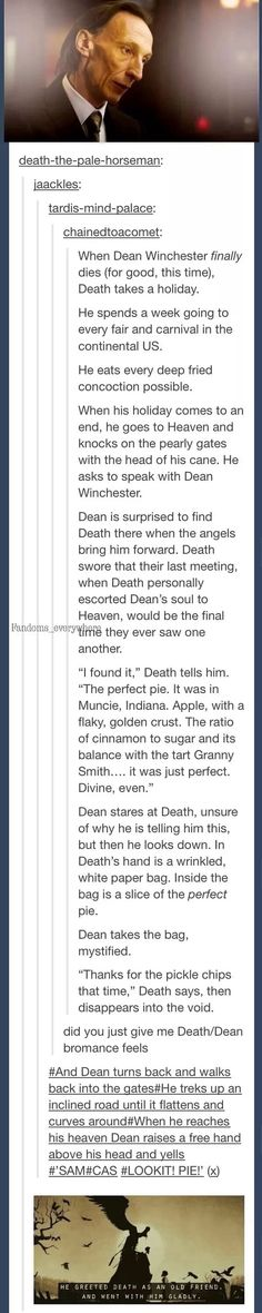 Dean and Death: a bromance :) this has broken me :'/