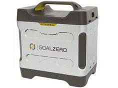 Solar powered.  Up to 3 hours on large devices such as TV or computer.  Need something more intense for long term, but short term and for back-up this is useful.   Extreme 350 Power Pack | Power Pack | Goal Zero
