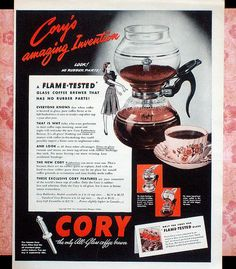 1945 ad for Cory Coffee Brewer #CoffeeBrewer