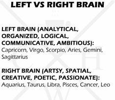 Left brain! #aries #aries♈ #taurus #taurus♉️ #gemini #gemini♊ #cancer #cancer♋ #leo #leo♌️ #virgo #virgo♍️ #libra #libra♎️ #scorpio…