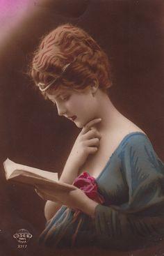maudelynn:  Beauty and the Book ~ Stunning Edwardian Postcard