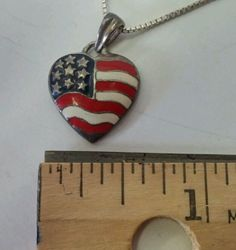 Patriotic 925 Sterling Silver Enamel American Flag Heart Pendant Charm Necklace #Traditional