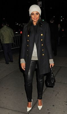 Black Leather Leggings, Grey Sweater and Beanie and Black Trench. Love this Look For Winter! Worn by Rachel Roy.