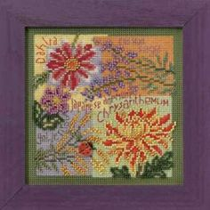Fall Blooms Cross Stitch Kit Mill Hill 2010 Buttons & Beads Autumn - $10.99