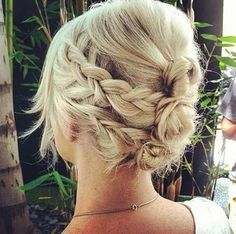 This messy braid, plus 15 other top short-hair updo's are trending.