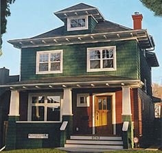 My favorite style of house architecture, the Craftsman. Love the porches and classic built in inside it! My favorite style of house architecture, the Craftsman. Love the porches and classic built in inside it! Craftsman Farmhouse, Craftsman Exterior, Craftsman Style Homes, Craftsman Bungalows, Farmhouse Plans, Farmhouse Style, Exterior Stairs, Exterior House Colors, Exterior Paint