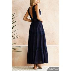 Sweet V-neck Lace Maxi Dress in Navy (51 BAM) ❤ liked on Polyvore featuring dresses, navy blue maxi dress, plunge maxi dress, navy lace dress, scalloped lace dress and navy dresses
