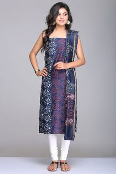 Navy Blue Unstitched Chanderi Suit With White & Maroon Floral Hand Block Print And Gold Zari
