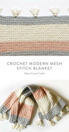 Free Pattern - Crochet Modern Mesh Stitch Blanket