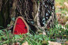 Fairy Door 'Iris' in Red Red Fairy door Fairy door | Etsy Fairy Doors On Trees, Fairy Garden Doors, Fairy Gardens, Tiny Guest House, Iris, Tooth Fairy Doors, Classic Doors, Gnome House, Gnome Door