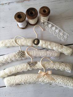 Luxury lace wedding Dress Hangers www. Diy Clothes Hangers, Baby Hangers, Bridal Hangers, Padded Hangers, Wedding Dress Crafts, Wedding Dress Hanger, Wedding Hangers, Lace Wedding, Luxury Wedding