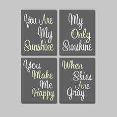Charcoal Gray Grey Yellow - You Are My Sunshine  Set of 4 Wall Art Decor Prints Poster Nursery Child Kid Room Typography on Etsy, $33.00