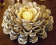 A #diy oyster candle #centerpiece.  Very different, I love it!  From #boldonabudget
