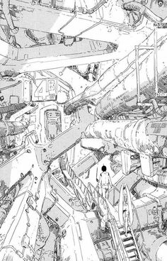 "junxyard: "" tsutomu nihei - knights of sidonia "" Sci Fi Environment, Environment Design, Environment Sketch, Knights Of Sidonia, Cyberpunk Kunst, Sf Wallpaper, Invisible Cities, Drawn Art, Poses References"