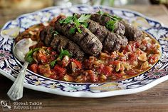 Grilled Kofta with zucchini sauce. For all of the lamb I am getting from our awesome CSA Carne, Zucchini, Middle Eastern Recipes, Arabic Food, Food Print, Main Dishes, Spicy, Grilling, Stuffed Peppers