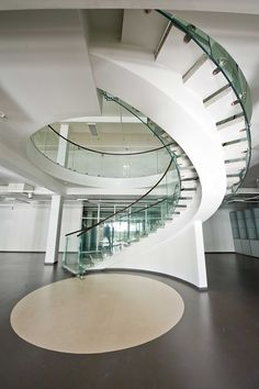 Hermitage Repository and Exhibition Facility, St Petersburg, Trofimov studio Architecture Collage, Facade Architecture, School Architecture, Interior Staircase, Glass Railing, Railing Design, Studio Interior, Glass House, Building A House